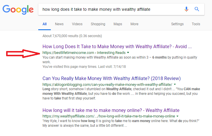 ranking for how long does it take to make money with wealthy affilaite