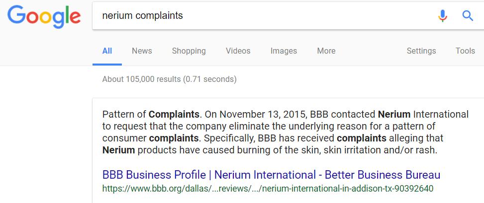 Nerium Complaints
