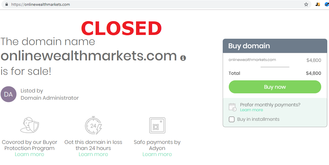 online wealth markets closed