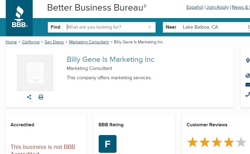 billy gene is marketing BBB accreditation