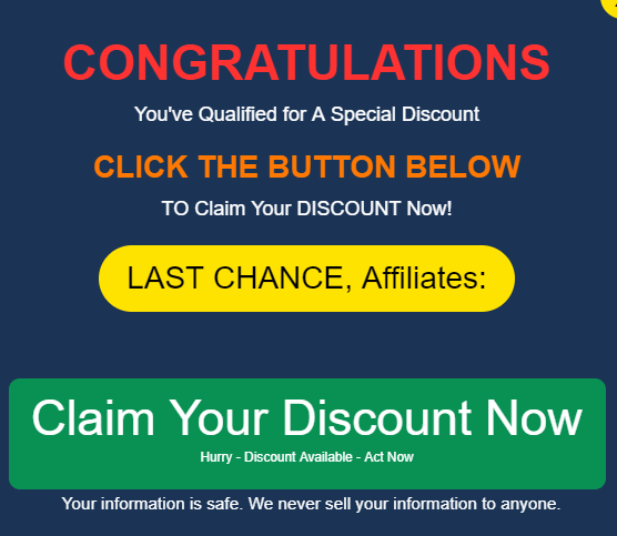affiliate bot 2.0 pop up message