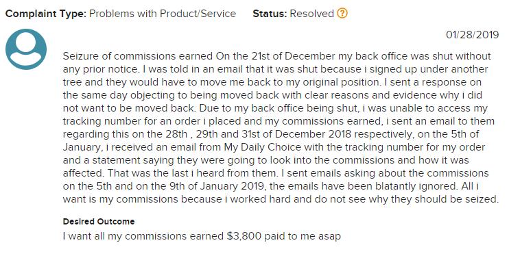 mydailychoice complaint
