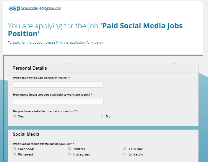 paid social media jobs application