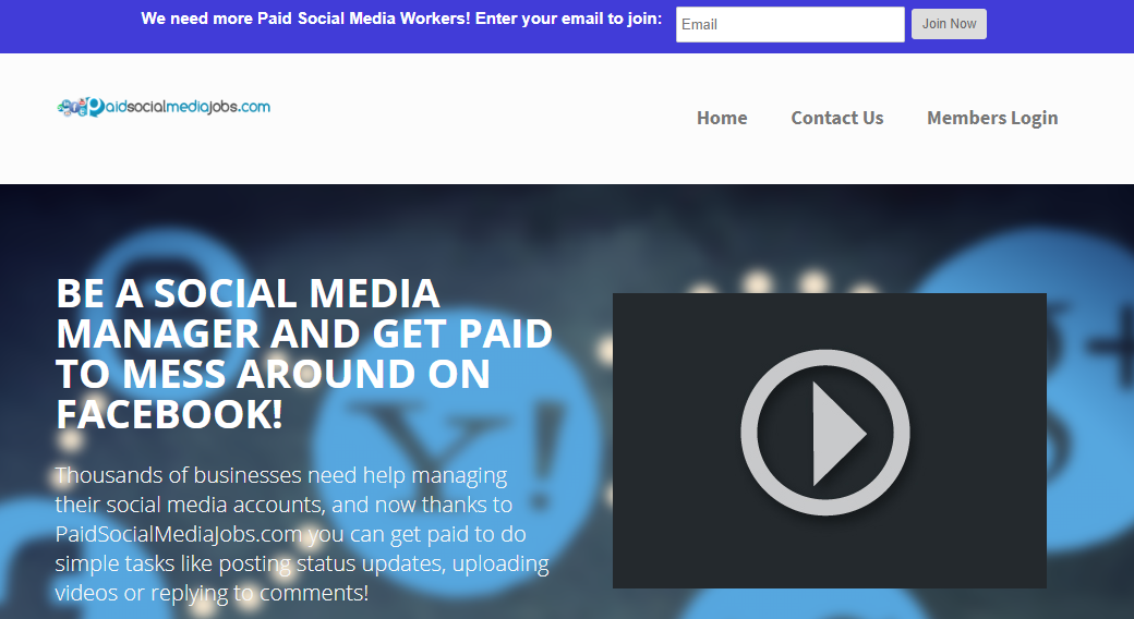 paid social media jobs website