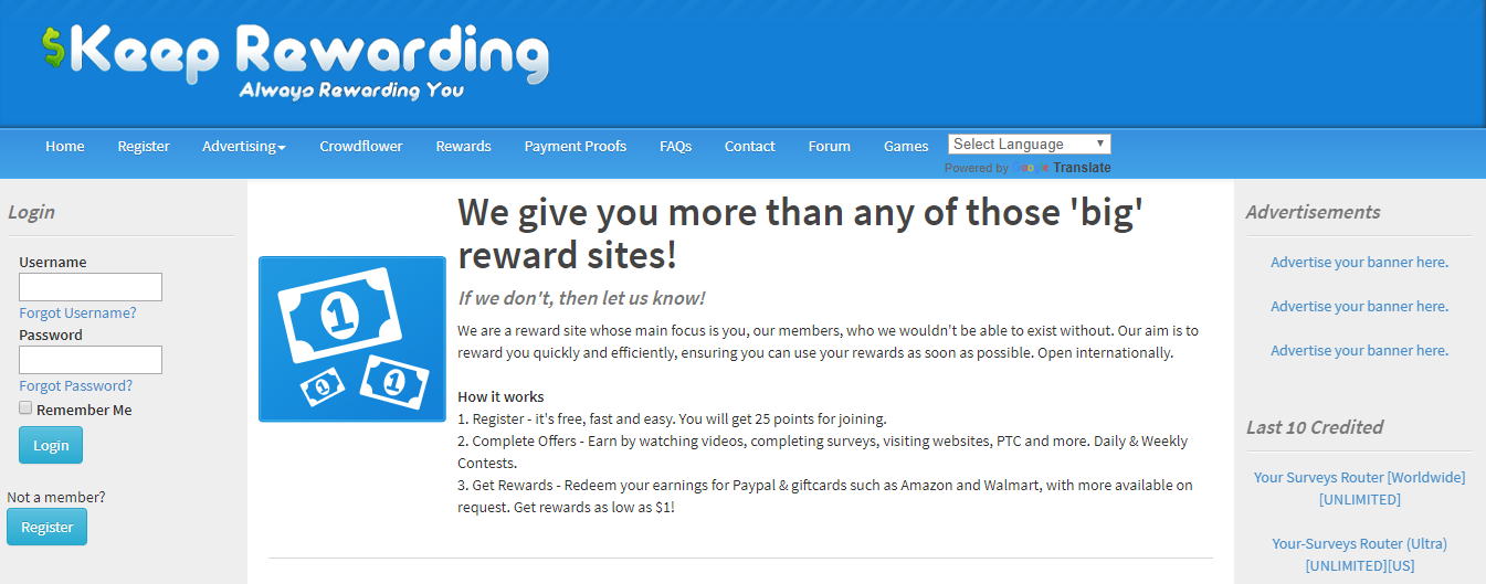 keep rewarding website
