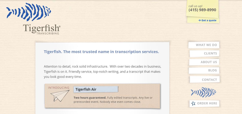 tigerfish transcribing website