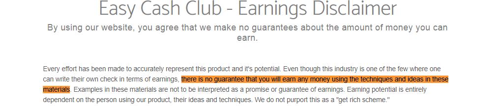 easy cash club disclaimer