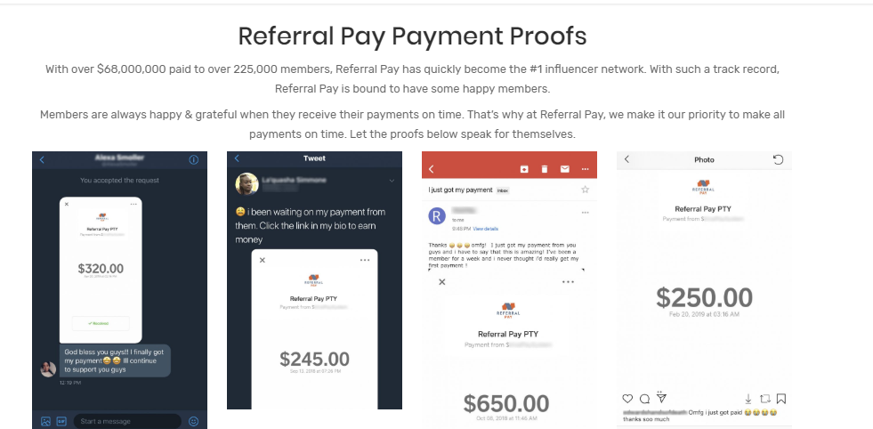 referral pay fake proof of payments