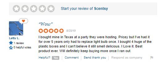 scentsy positive reviews