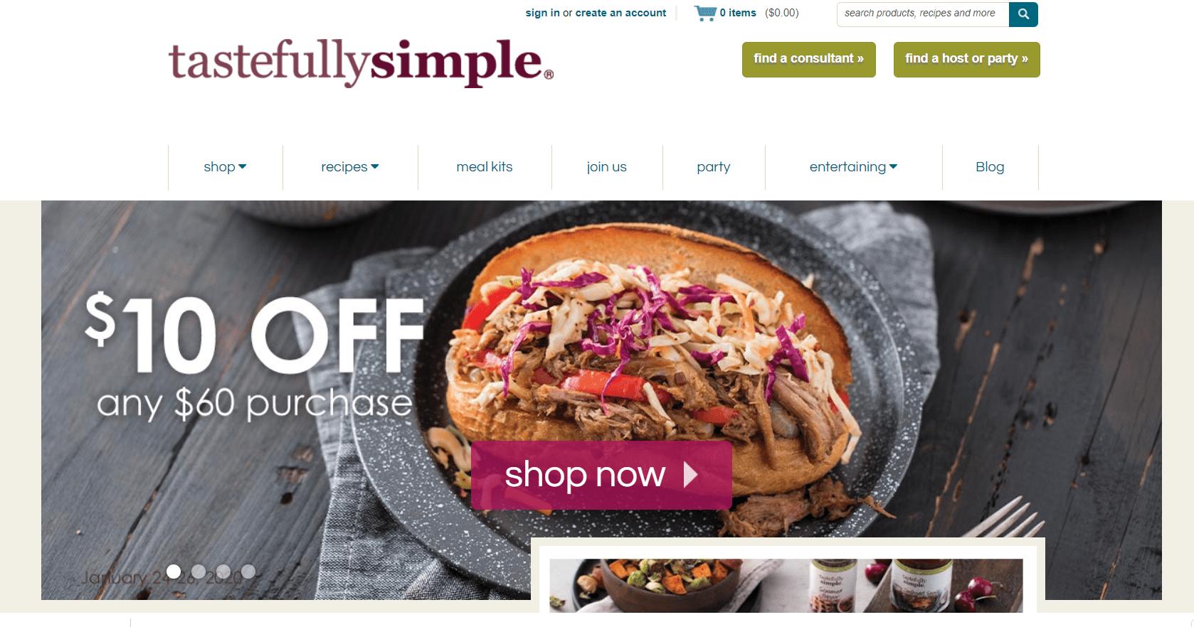 tastefully simple website