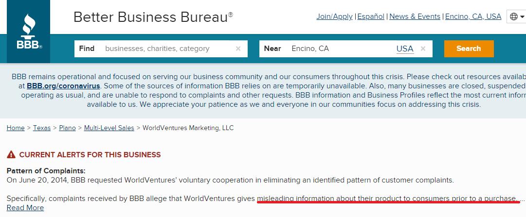 WorldVentures BBB Complaints
