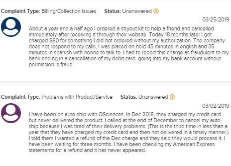 q sciences customer complaints